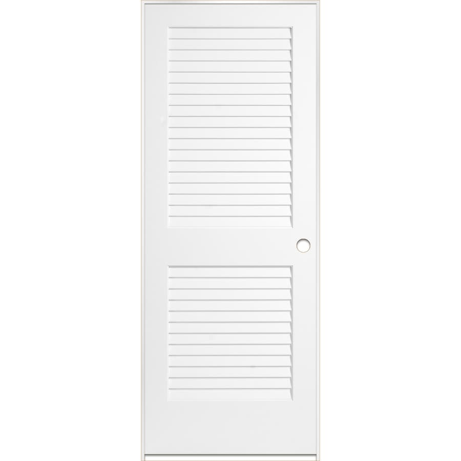 ReliaBilt White Prehung Plantation Louver Pine Interior Door (Common: 30-in x 80-in; Actual: 31.5-in x 81.5-in)