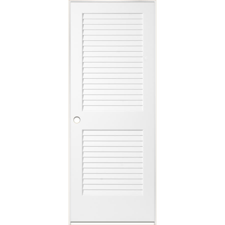 ReliaBilt White Prehung Plantation Louver Pine Interior Door (Common: 32-in x 80-in; Actual: 33.5-in x 81.5-in)