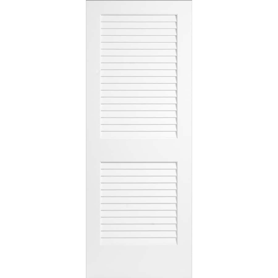 ReliaBilt White Plantation Louver Pine Slab Interior Door (Common: 36-in x 80-in; Actual: 36-in x 80-in)