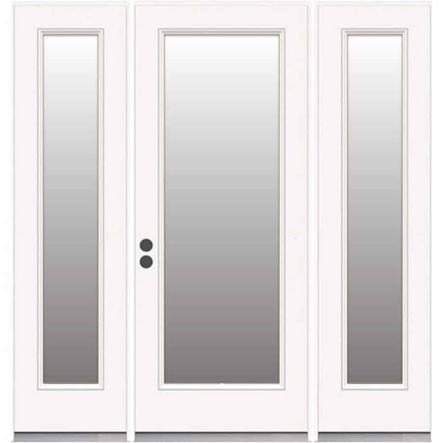 ReliaBilt French Insulating Core Full Lite Right-Hand Inswing White Steel Primed Prehung Entry Door (Common: 72-in x 80-in; Actual: 72.5-in x 81.5-in)