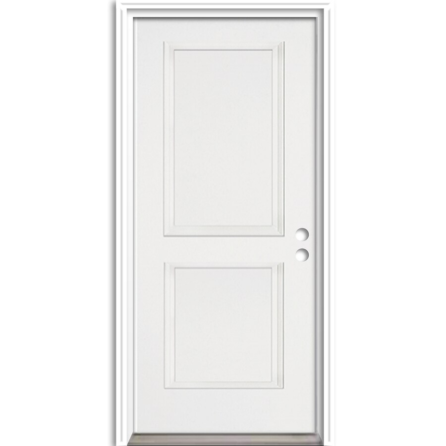 ReliaBilt 2-Panel Insulating Core Left-Hand Inswing Fiberglass Unfinished Prehung Entry Door (Common: 36-in x 80-in; Actual: 37.5-in X
