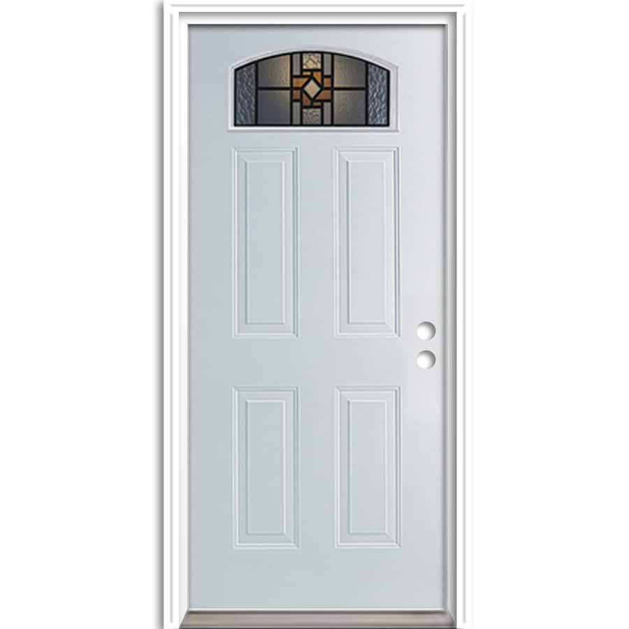 ReliaBilt Sonora Center Arch Lite Decorative Glass Left-Hand Inswing Primed Steel Prehung Entry Door with Insulating Core (Common: 36-in X 80-in; Actual: 37.5-in x 81.625-in)