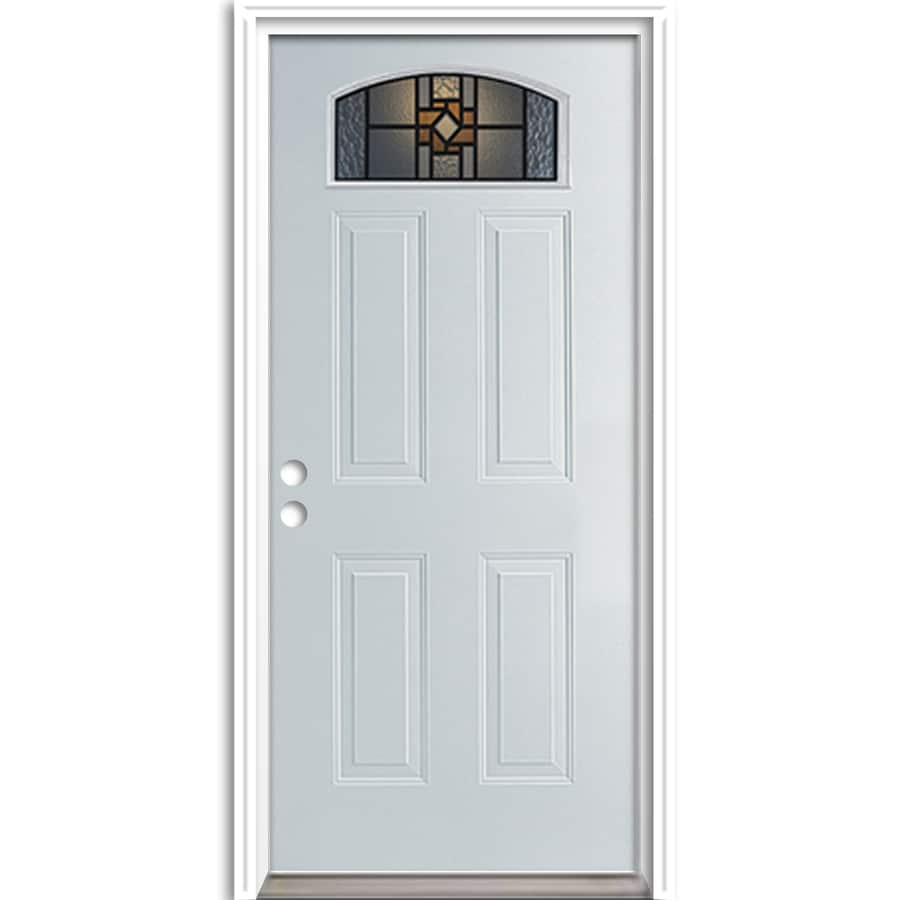 ReliaBilt French Insulating Core Morelight Right-Hand Inswing Steel Primed Prehung Entry Door (Common: 36-in x 80-in; Actual: 37.5-in x 81.625-in)