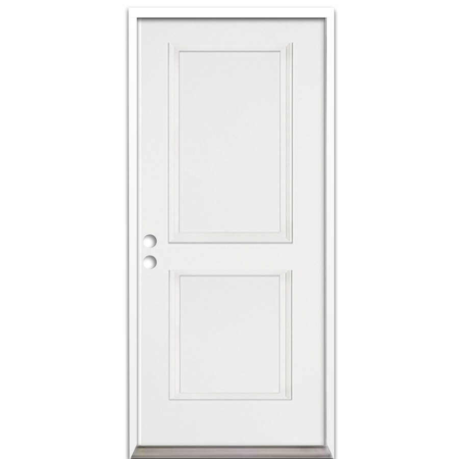 ReliaBilt 2-Panel Insulating Core Right-Hand Inswing Fiberglass Unfinished Prehung Entry Door (Common: 36.0-in x 80.0-in; Actual: 37.5-in x 81.625-in)