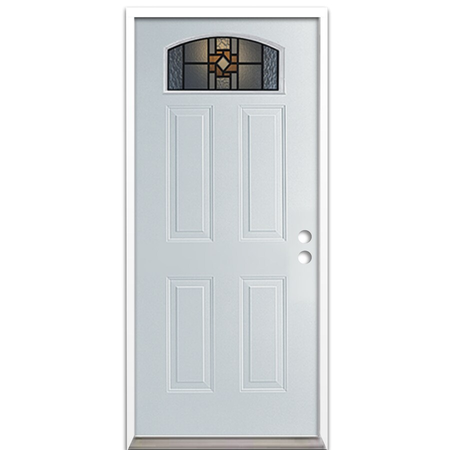 ReliaBilt French Insulating Core Morelight Left-Hand Inswing Steel Primed Prehung Entry Door (Common: 36-in x 80-in; Actual: 37.5-in x 81.625-in)