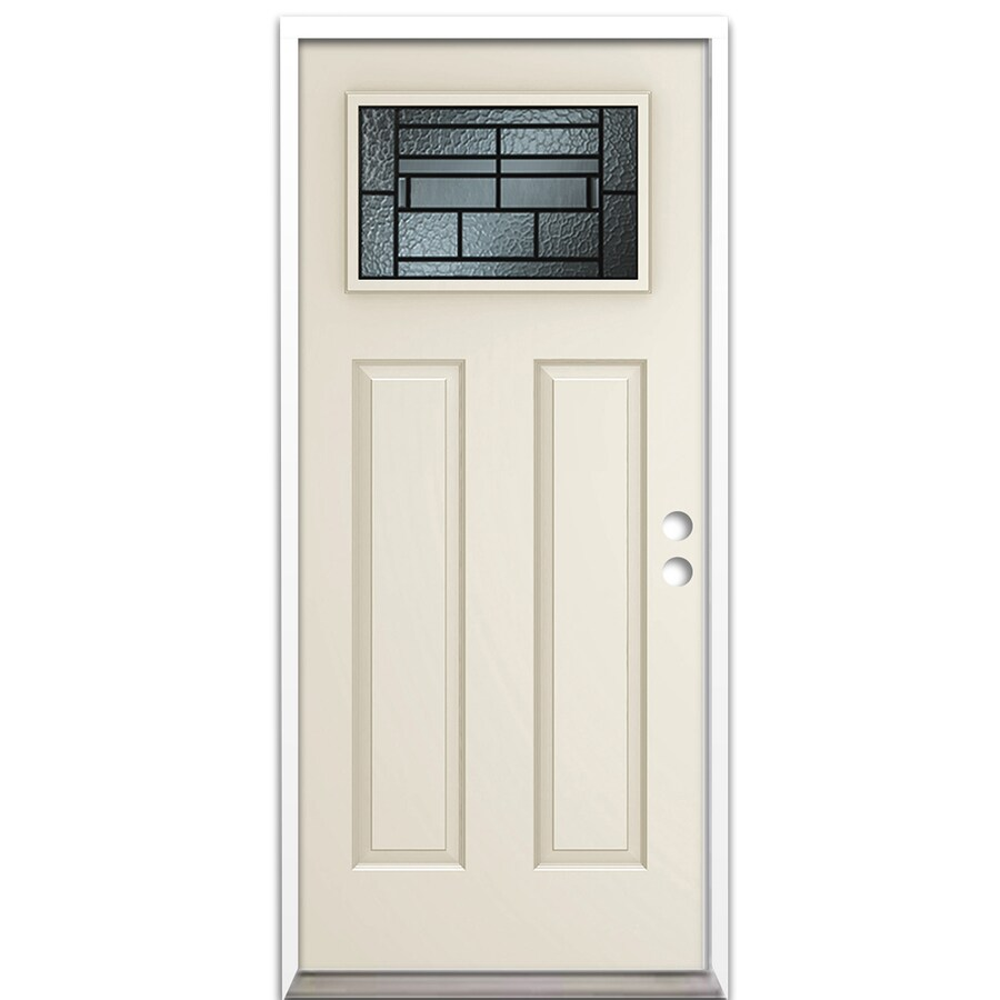 ReliaBilt Craftsman Insulating Core Craftsman 1-Lite Left-Hand Inswing Steel Primed Prehung Entry Door (Common: 36-in x 80-in; Actual: 37.5-in x 81.625-in)