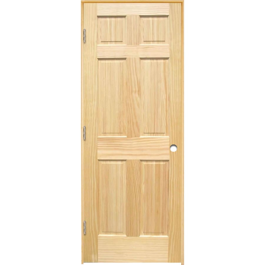 Shop reliabilt brown unfinished 6 panel solid core wood pine single prehung door common 24 in 6 panel hardwood interior doors
