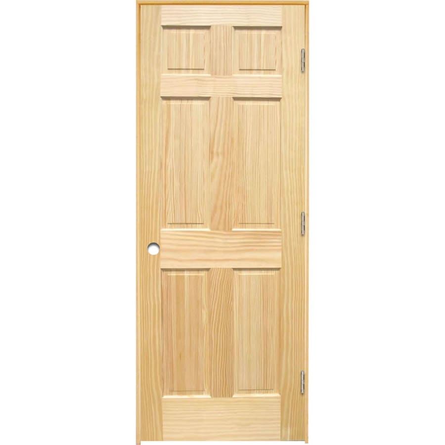 ReliaBilt (Unfinished) Prehung Solid Core 6-Panel Pine Interior Door (Common: 36-in x 80-in; Actual: 37.375-in x 81.312-in)