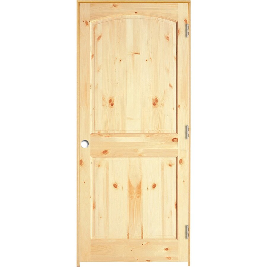 ReliaBilt Prehung Solid Core 2-Panel Arch Top Knotty Pine Interior Door (Common: 28-in x 80-in; Actual: 29.375-in x 81.312-in)