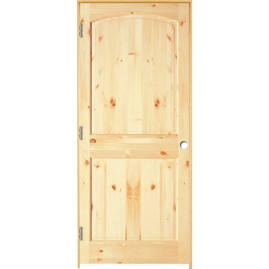 ReliaBilt (Unfinished) Prehung Solid Core 2-Panel Arch Top Knotty Pine Interior Door (Common: 30-in x 80-in; Actual: 31.375-in x 81.312-in)
