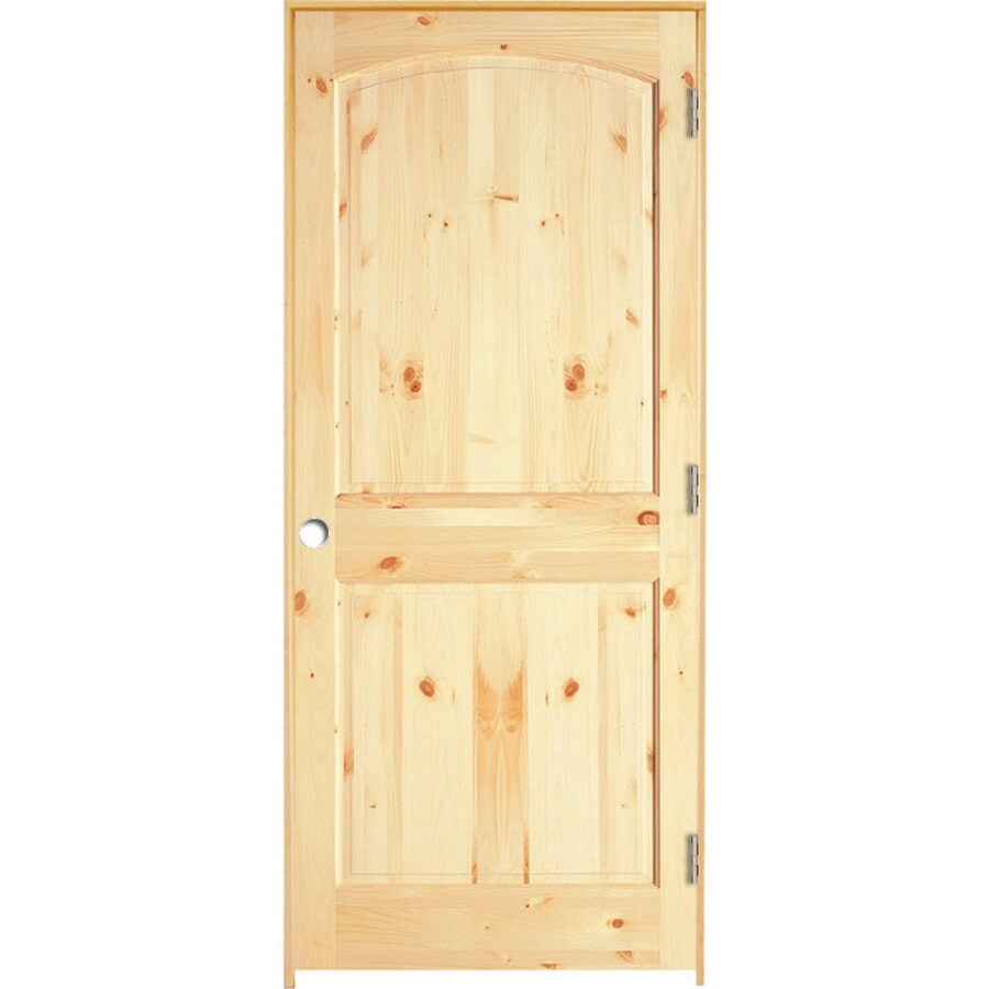 Shop reliabilt solid core knotty pine single prehung interior door common 32 in x 80 in for Solid core interior doors soundproof