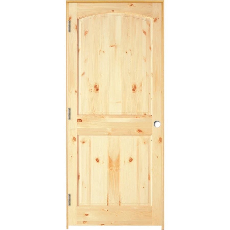 ReliaBilt Prehung Solid Core 2-Panel Arch Top Knotty Pine Interior Door (Common: 32-in x 80-in; Actual: 33.375-in x 81.312-in)