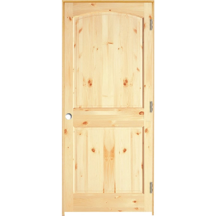 ReliaBilt (Unfinished) Prehung Solid Core 2-Panel Arch Top Knotty Pine Interior Door (Common: 36-in x 80-in; Actual: 37.375-in x 81.312-in)