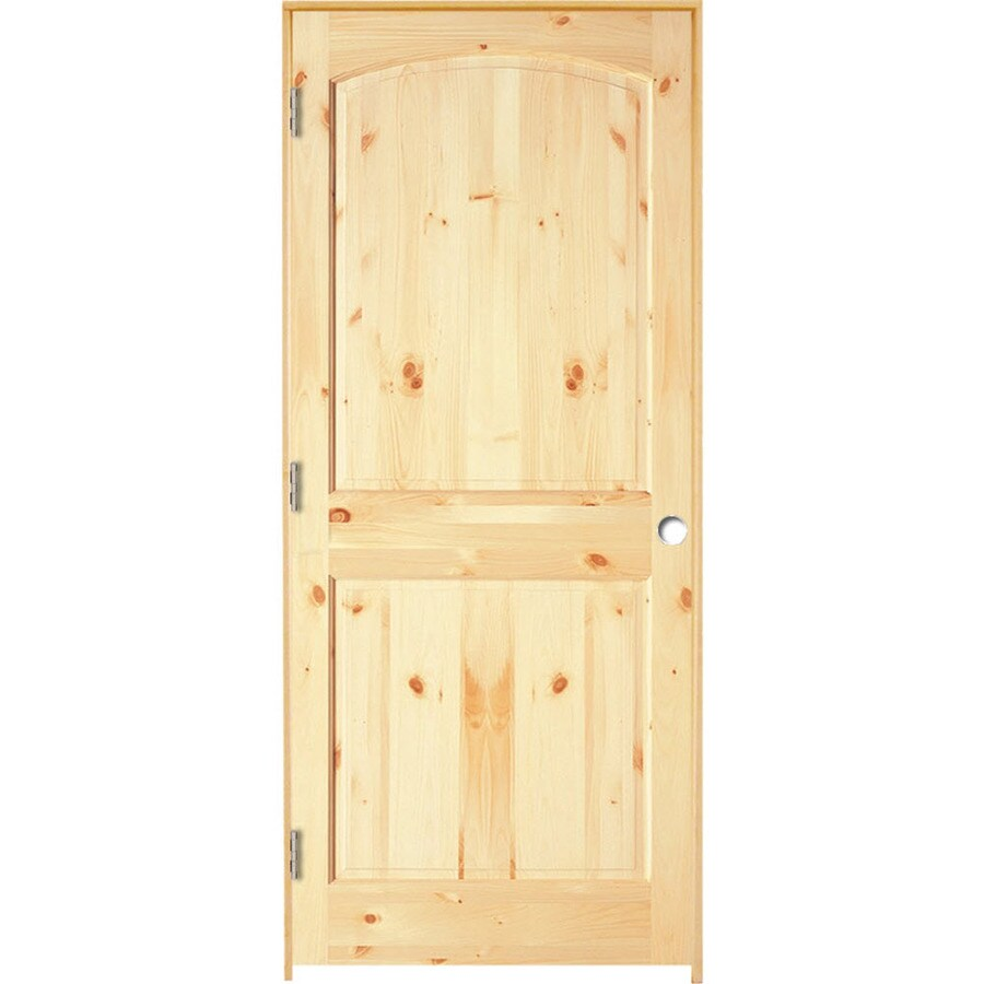 ReliaBilt Brown/Unfinished 2-Panel Round Top Plank Solid Core Wood Pine Single Prehung Door (Common 36-in X 80-in; Actual 37.375-in x 81.3125-in)  sc 1 st  Loweu0027s & ReliaBilt Brown/Unfinished 2-Panel Round Top Plank Solid Core Wood ...