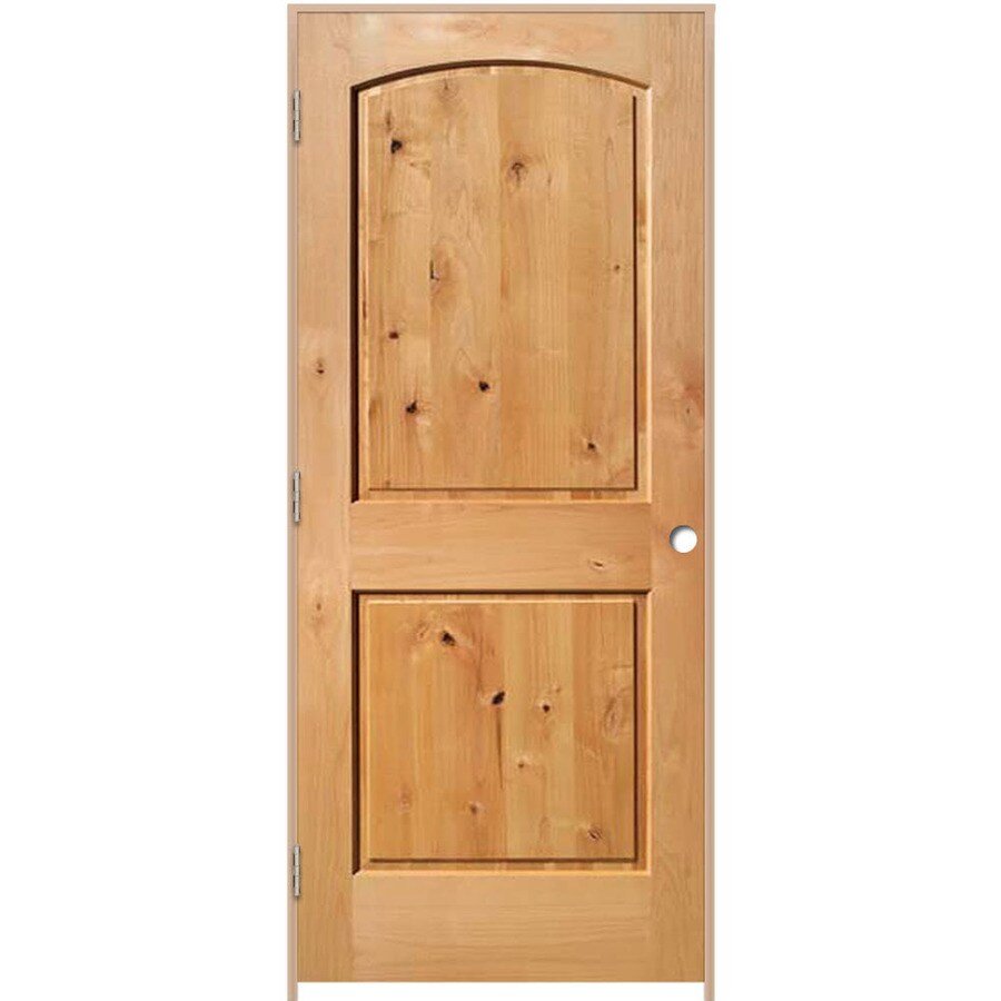 ReliaBilt Prehung Solid Core 2-Panel Round Top Knotty Alder Interior Door (Common: 30-in x 80-in; Actual: 31.375-in x 81.312-in)