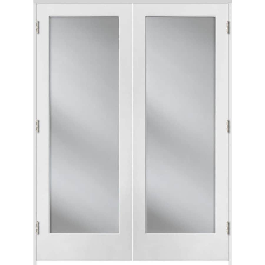Shop reliabilt primed solid core clear glass molded for Interior glass french doors