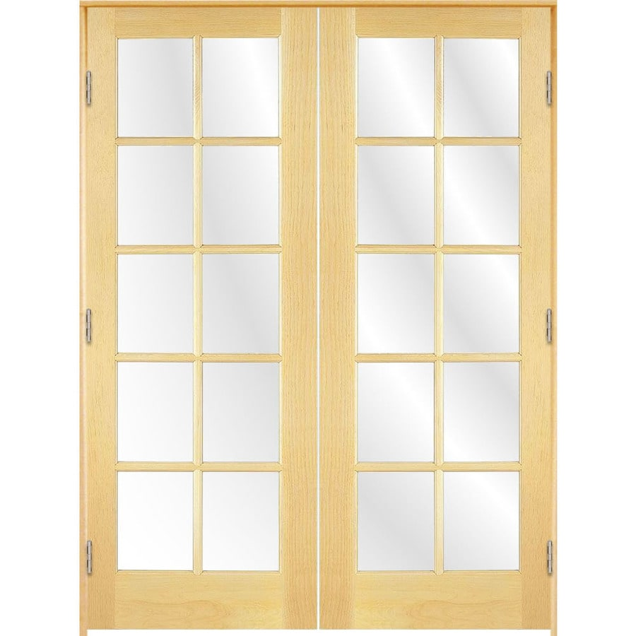 Shop reliabilt solid core clear glass pine french interior for Interior glass french doors