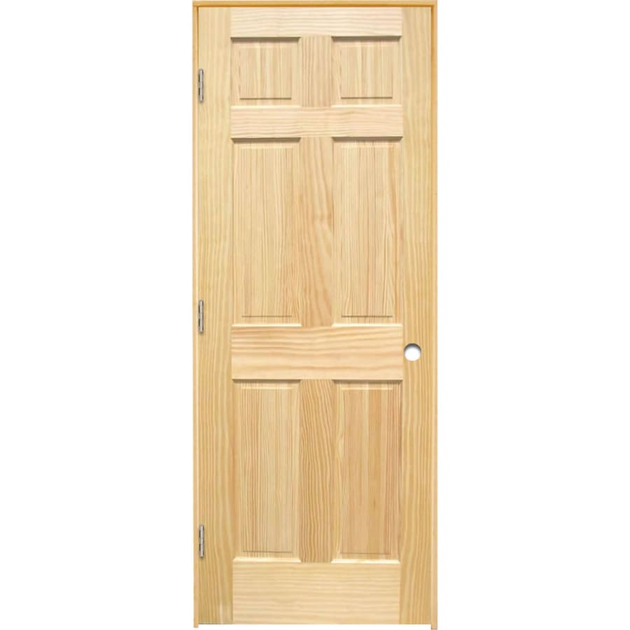 Reliabilt Brown Unfinished 6 Panel Solid Core Wood Pine