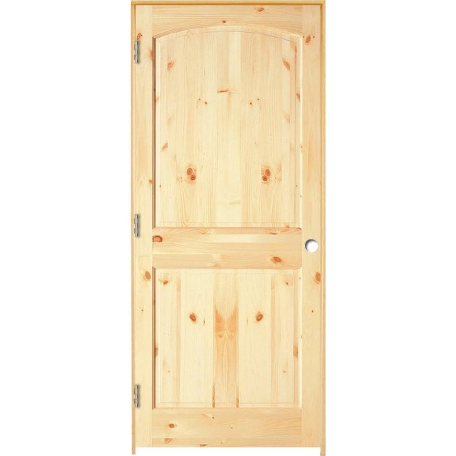 ReliaBilt Prehung Solid Core 2-Panel Arch Top Knotty Pine Interior Door (Common: 24-in x 80-in; Actual: 25.375-in x 81.187-in)