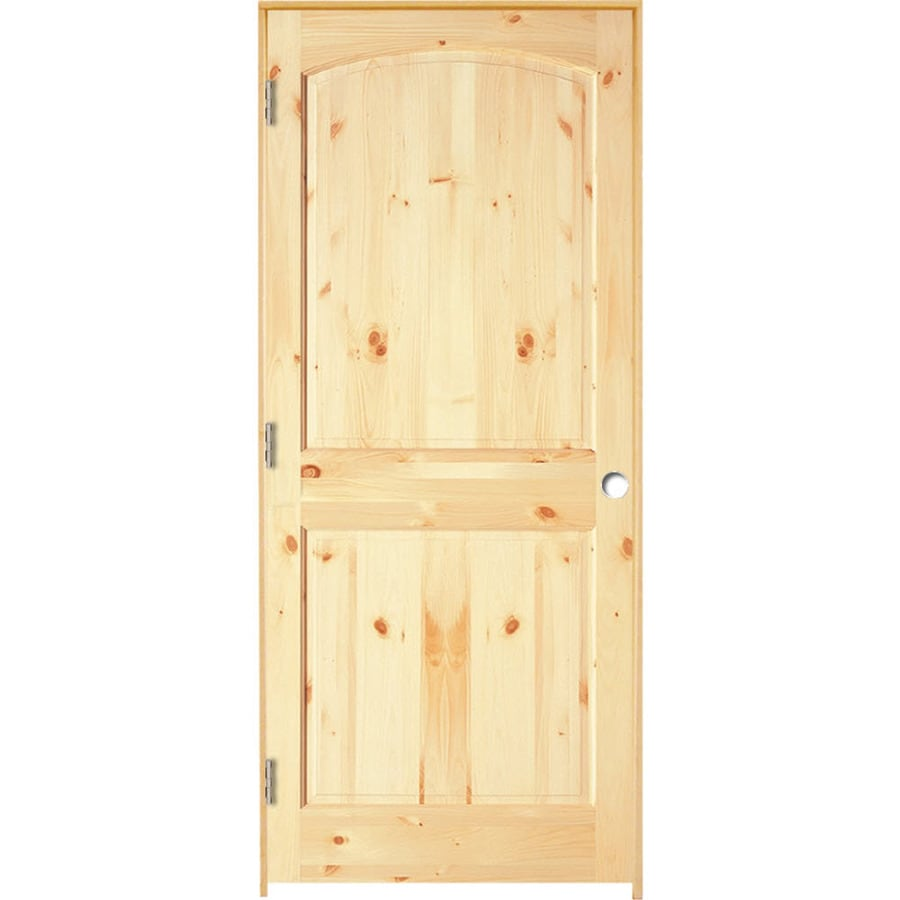 ReliaBilt Prehung Solid Core 2-Panel Arch Top Knotty Pine Interior Door (Common: 28-in x 80-in; Actual: 29.375-in x 81.187-in)