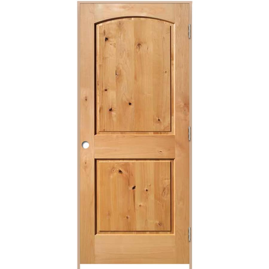 ReliaBilt (Unfinished) Prehung Solid Core 2-Panel Round Top Knotty Alder Interior Door (Common: 32-in x 80-in; Actual: 33.375-in x 81.187-in)