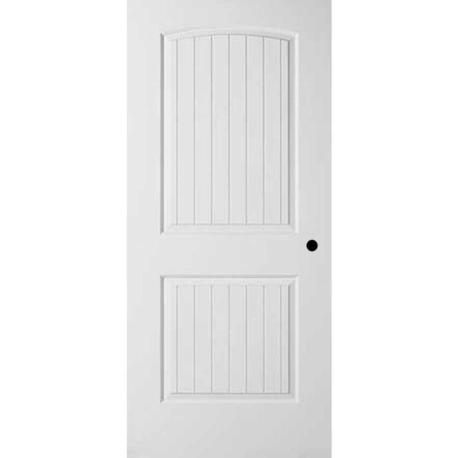 ReliaBilt 2-panel Round Top Plank Single Prehung Interior Door (Common: 28-in X 80-in; Actual: 29.375-in x 81.187-in)