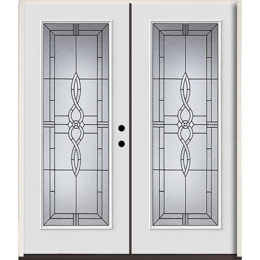 ReliaBilt Calista Flush Insulating Core Full Lite Left-Hand Inswing Modern White Fiberglass Painted Prehung Entry Door (Common: 72.0-in x 80.0-in; Actual: 73.875-in x 81.75-in)