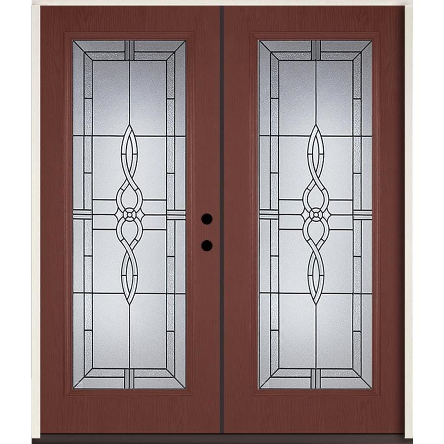 ReliaBilt Calista Decorative Glass Left-Hand Inswing Wineberry Fiberglass Stained Entry Door (Common: 72-in x 80-in; Actual: 73.875-in x 81.75-in)