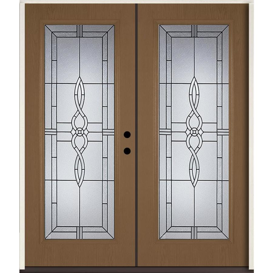 ReliaBilt Calista Flush Insulating Core Full Lite Left-Hand Inswing Woodhaven Fiberglass Stained Prehung Entry Door (Common: 72-in x 80-in; Actual: 73.875-in x 81.75-in)