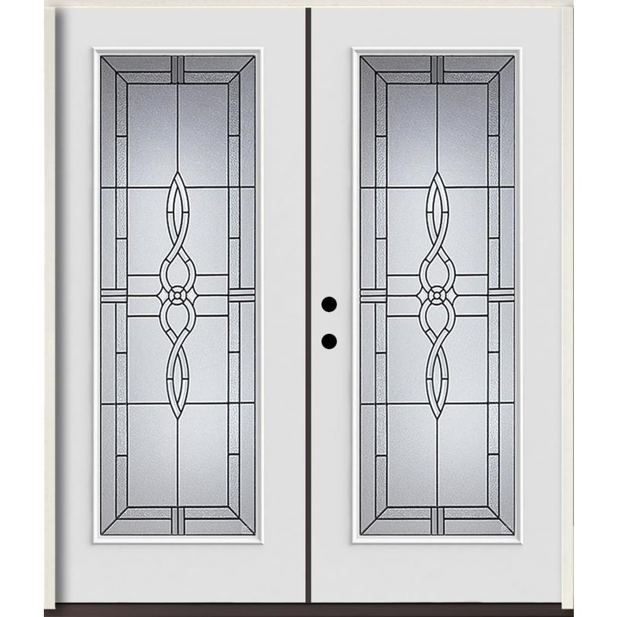 ReliaBilt Calista Decorative Glass Right-Hand Inswing Modern White Fiberglass Painted Entry Door (Common: 72-in x 80-in; Actual: 73.875-in x 81.75-in)