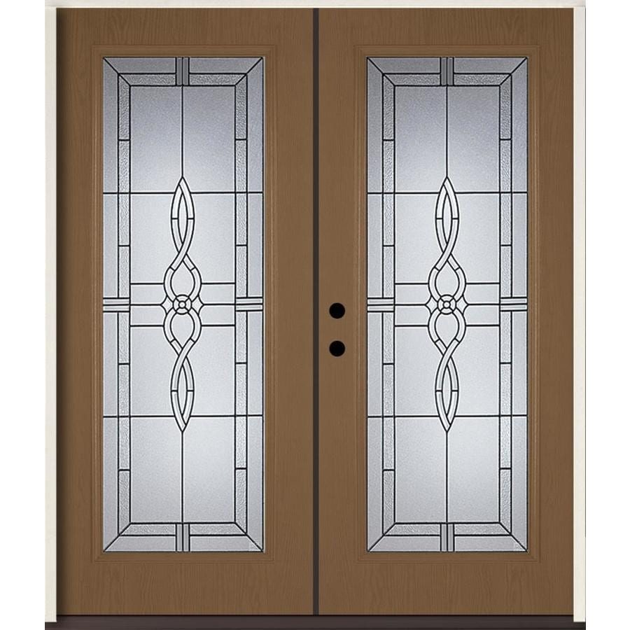 ReliaBilt Calista Decorative Glass Right-Hand Inswing Woodhaven Fiberglass Stained Entry Door (Common: 72-in x 80-in; Actual: 73.875-in x 81.75-in)
