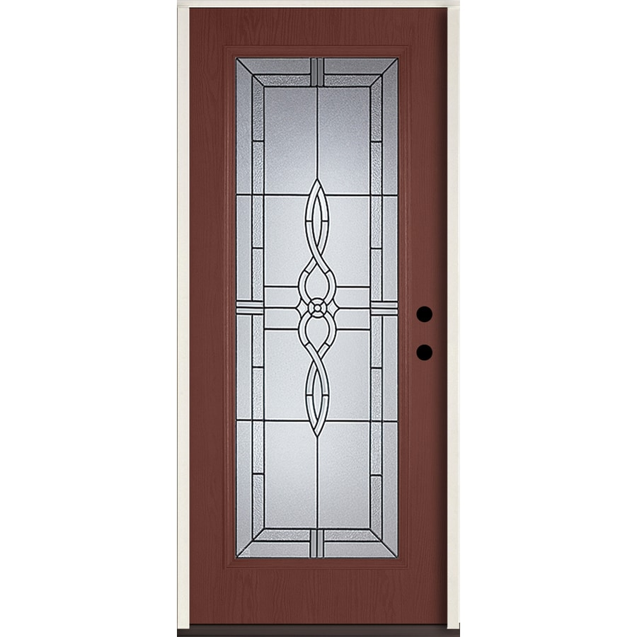 ReliaBilt Calista Flush Insulating Core Full Lite Left-Hand Inswing Wineberry Fiberglass Stained Prehung Entry Door (Common: 36.0-in x 80.0-in; Actual: 37.5-in x 81.75-in)