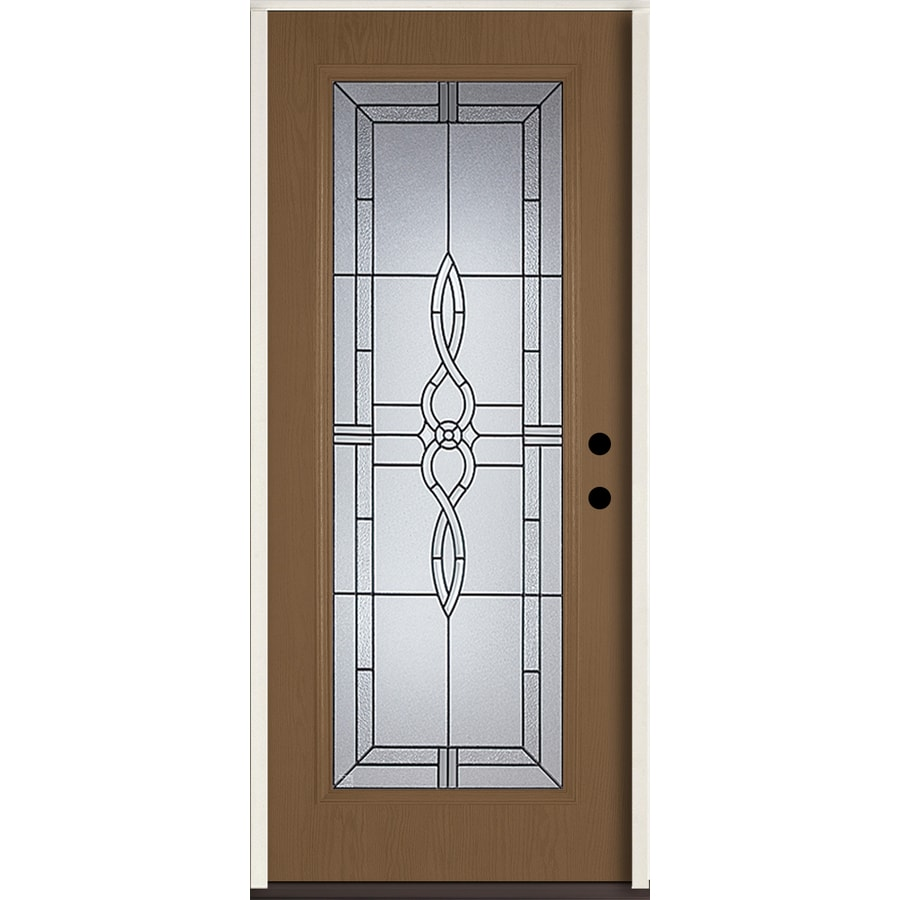 Shop Reliabilt Calista Decorative Glass Left Hand Inswing Woodhaven Fiberglass Stained Entry