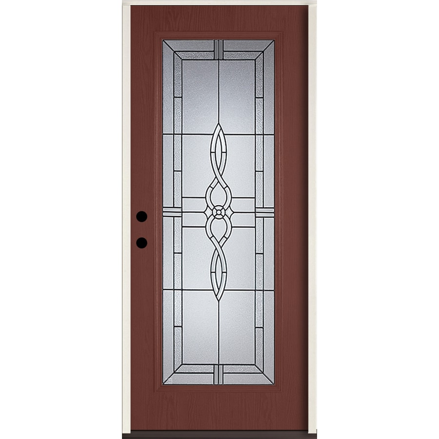 ReliaBilt Calista Flush Insulating Core Full Lite Right-Hand Inswing Wineberry Fiberglass Stained Prehung Entry Door (Common: 36-in x 80-in; Actual: 37.5-in x 81.75-in)