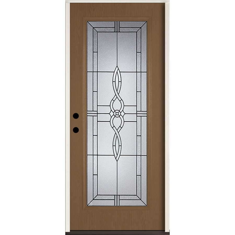 ReliaBilt Calista Decorative Glass Right-Hand Inswing Woodhaven Fiberglass Stained Entry Door (Common: 36-in x 80-in; Actual: 37.5-in x 81.75-in)