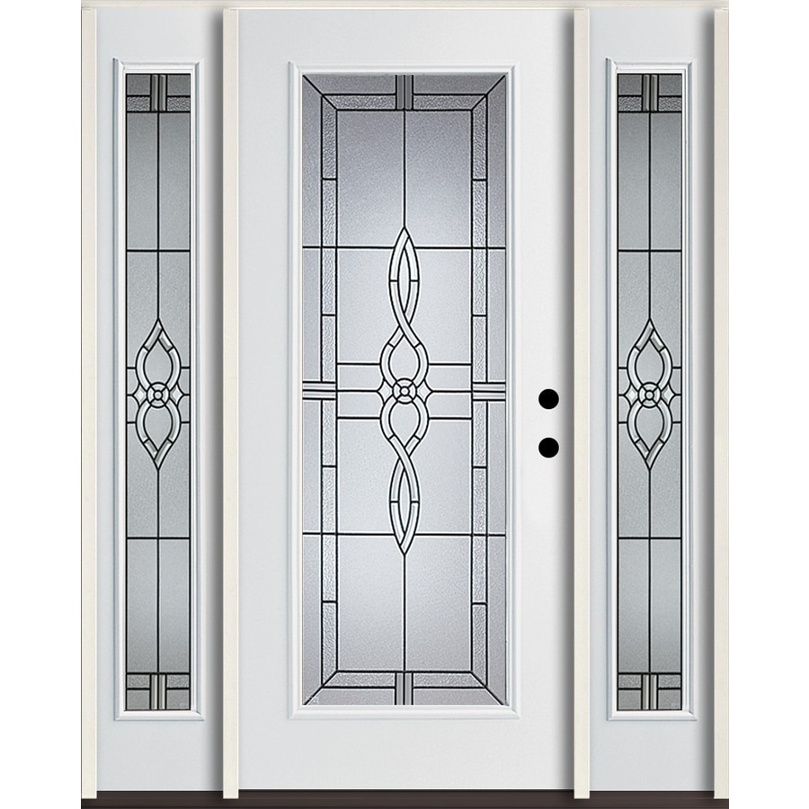 ReliaBilt Calista Flush Insulating Core Full Lite Left-Hand Inswing Modern White Fiberglass Painted Prehung Entry Door (Common: 60.0-in x 80.0-in; Actual: 64.5-in x 81.75-in)