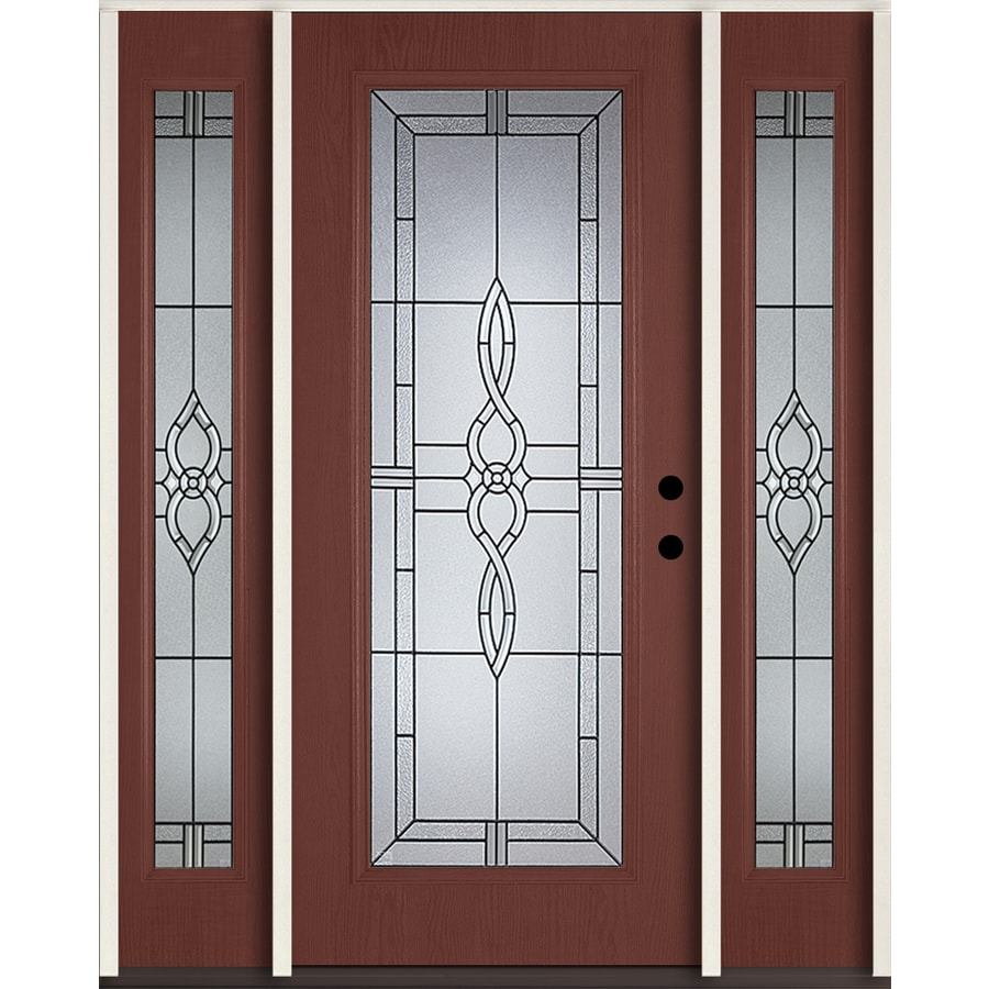 ReliaBilt Calista Flush Insulating Core Full Lite Left-Hand Inswing Wineberry Fiberglass Stained Prehung Entry Door (Common: 60.0-in x 80.0-in; Actual: 64.5-in x 81.75-in)