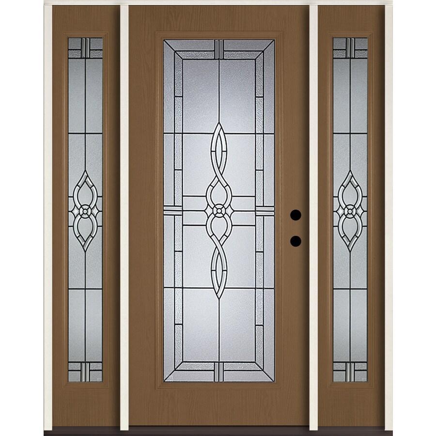 ReliaBilt Calista Decorative Glass Left-Hand Inswing Woodhaven Fiberglass Stained Entry Door (Common: 60-in x 80-in; Actual: 64.5-in x 81.75-in)
