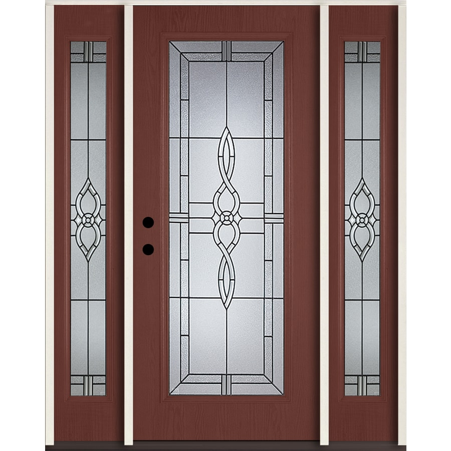 ReliaBilt Calista Decorative Glass Right-Hand Inswing Wineberry Fiberglass Stained Entry Door (Common: 60-in x 80-in; Actual: 64.5-in x 81.75-in)