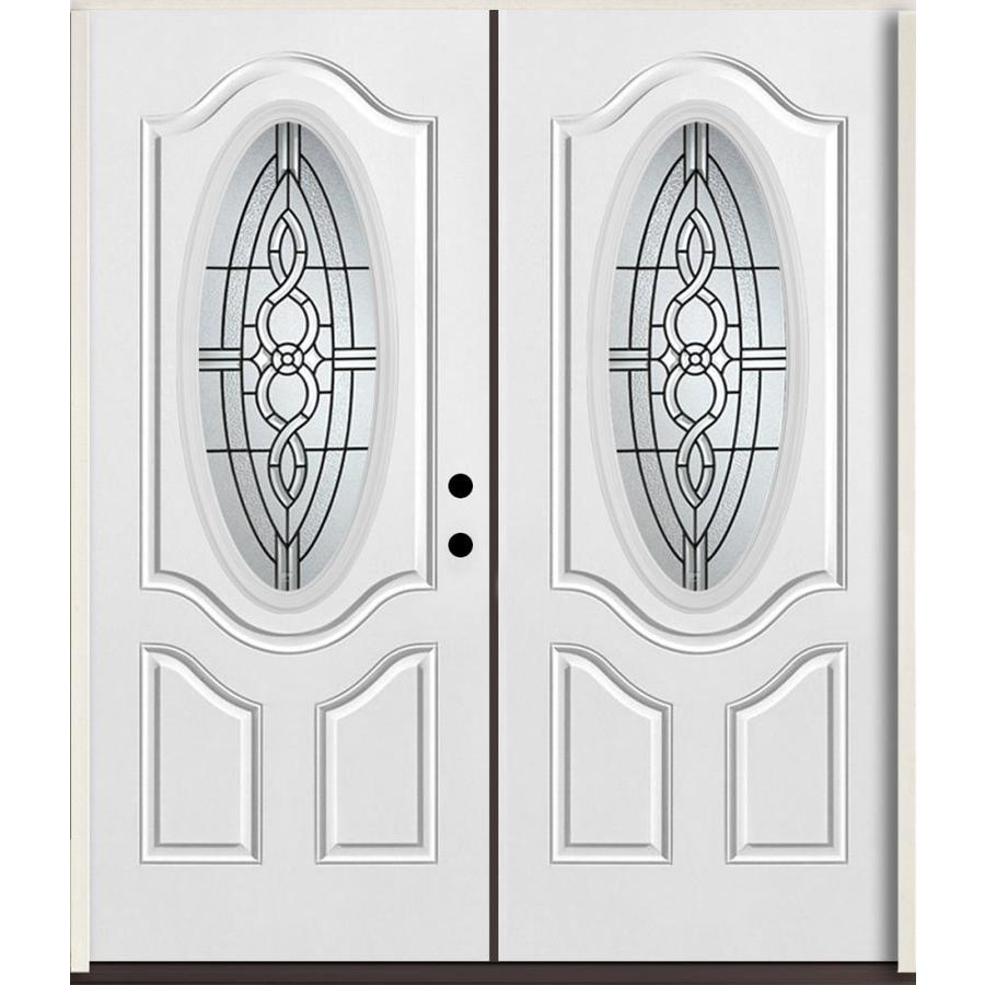 ReliaBilt Calista Decorative Glass Left-Hand Inswing Modern White Fiberglass Painted Entry Door (Common: 72-in x 80-in; Actual: 73.875-in x 81.75-in)