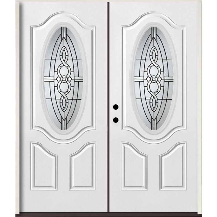 ReliaBilt Calista 3-Panel Insulating Core Oval Lite Right-Hand Inswing Modern White Fiberglass Painted Prehung Entry Door (Common: 72.0-in x 80.0-in; Actual: 73.875-in x 81.75-in)