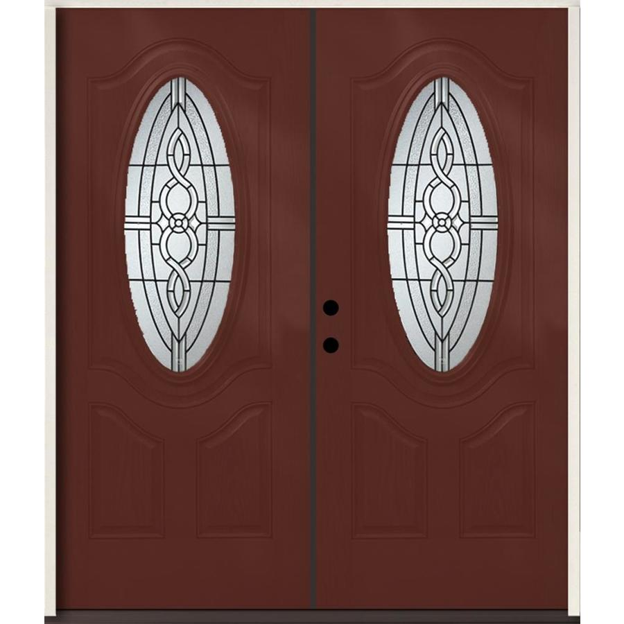 ReliaBilt Calista 3-Panel Insulating Core Oval Lite Right-Hand Inswing Wineberry Fiberglass Stained Prehung Entry Door (Common: 72.0-in x 80.0-in; Actual: 73.875-in x 81.75-in)