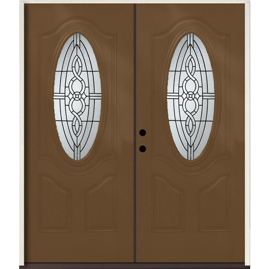 ReliaBilt Calista 3-Panel Insulating Core Oval Lite Right-Hand Inswing Woodhaven Fiberglass Stained Prehung Entry Door (Common: 72.0-in x 80.0-in; Actual: 73.875-in x 81.75-in)