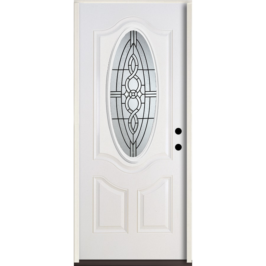 ReliaBilt Calista 3-Panel Insulating Core Oval Lite Left-Hand Inswing Modern White Fiberglass Painted Prehung Entry Door (Common: 36.0-in x 80.0-in; Actual: 37.5-in x 81.75-in)