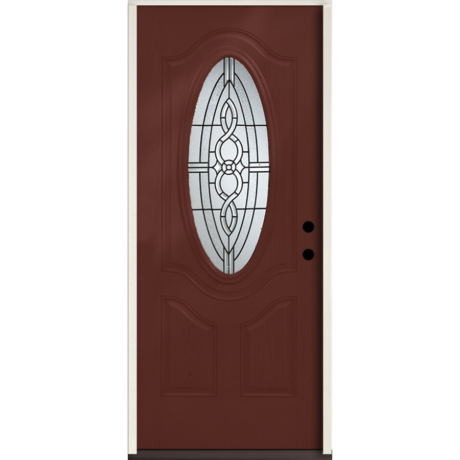 ReliaBilt Calista Decorative Glass Left-Hand Inswing Wineberry Fiberglass Stained Entry Door (Common: 36-in x 80-in; Actual: 37.5-in x 81.75-in)