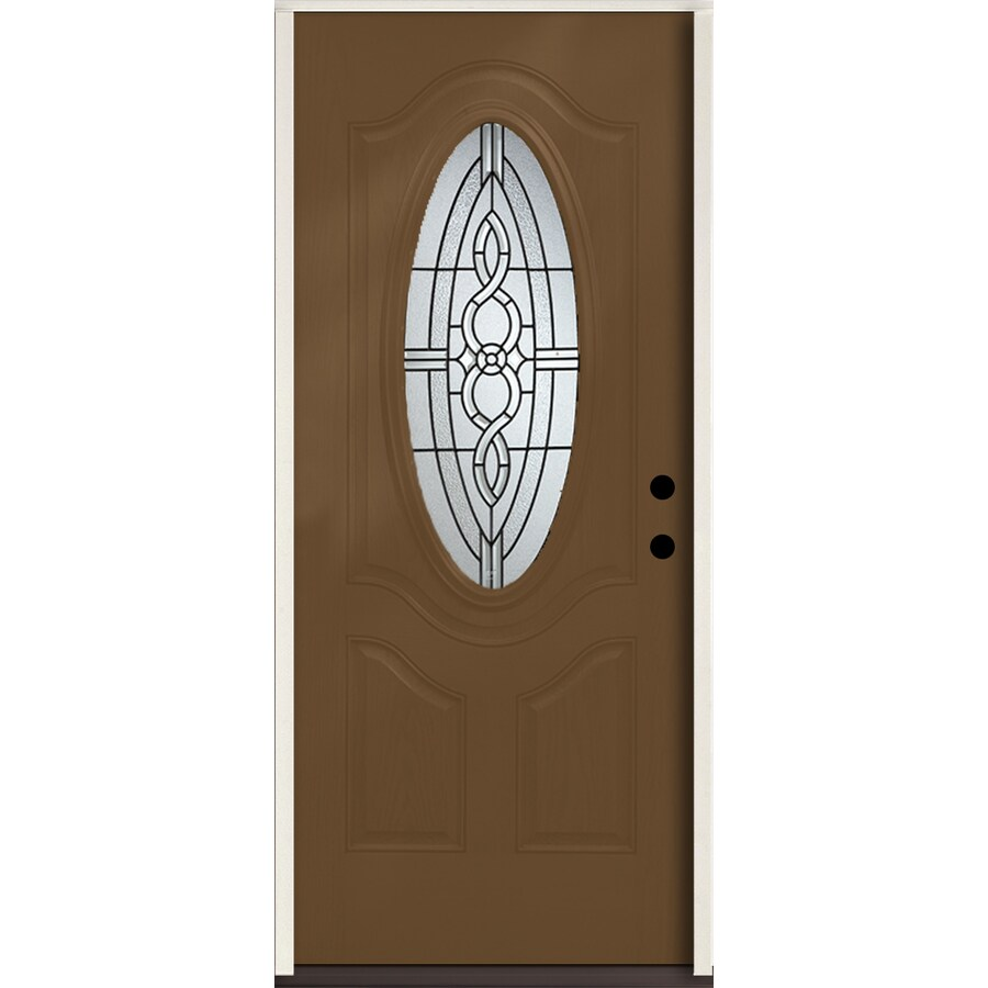 ReliaBilt Calista 3-Panel Insulating Core Oval Lite Left-Hand Inswing Woodhaven Fiberglass Stained Prehung Entry Door (Common: 36.0-in x 80.0-in; Actual: 37.5-in x 81.75-in)