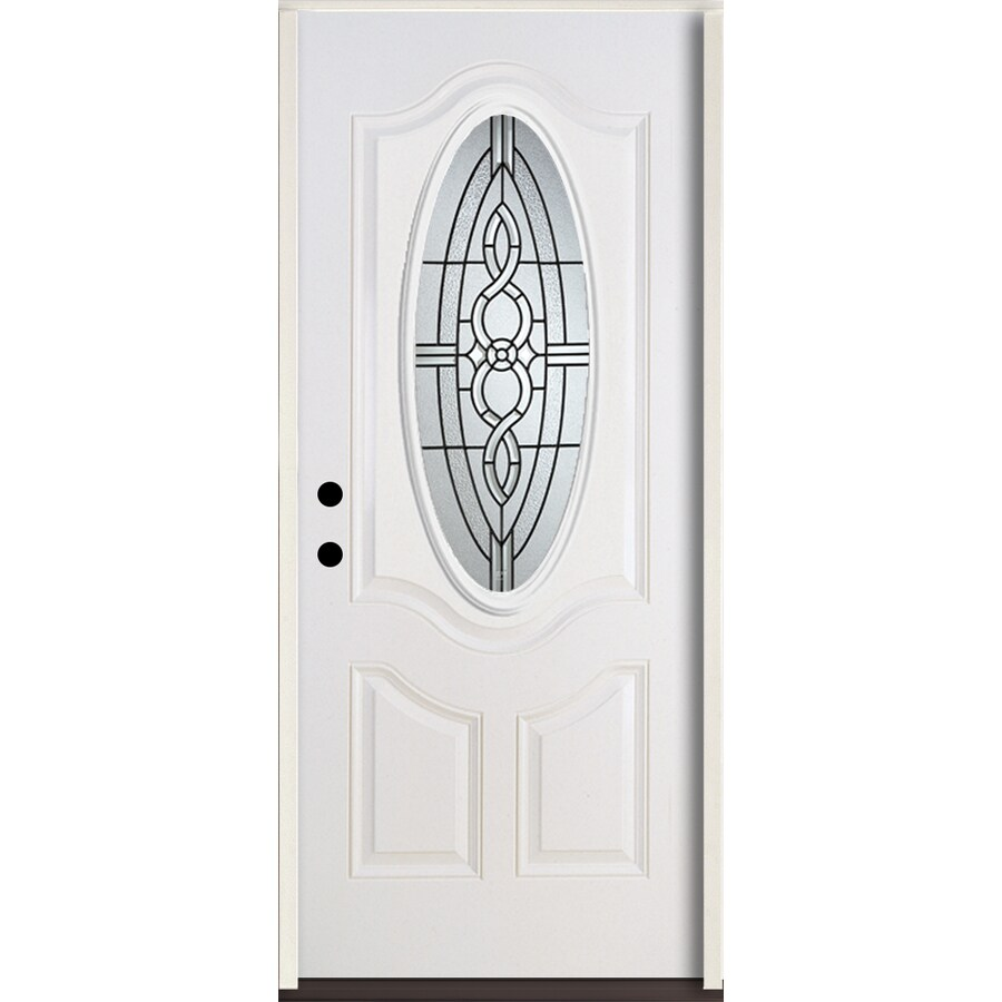 ReliaBilt Calista 3-Panel Insulating Core Oval Lite Right-Hand Inswing Modern White Fiberglass Painted Prehung Entry Door (Common: 36.0-in x 80.0-in; Actual: 37.5-in x 81.75-in)