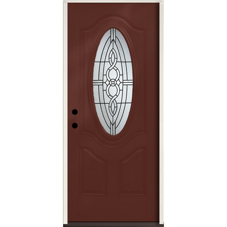 ReliaBilt Calista 3-Panel Insulating Core Oval Lite Right-Hand Inswing Wineberry Fiberglass Stained Prehung Entry Door (Common: 36-in x 80-in; Actual: 37.5-in x 81.75-in)