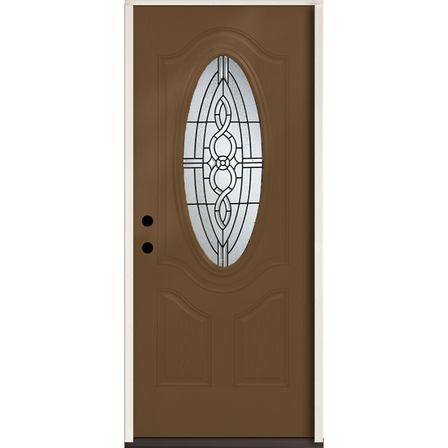 ReliaBilt Calista 3-Panel Insulating Core Oval Lite Right-Hand Inswing Woodhaven Fiberglass Stained Prehung Entry Door (Common: 36-in x 80-in; Actual: 37.5-in x 81.75-in)