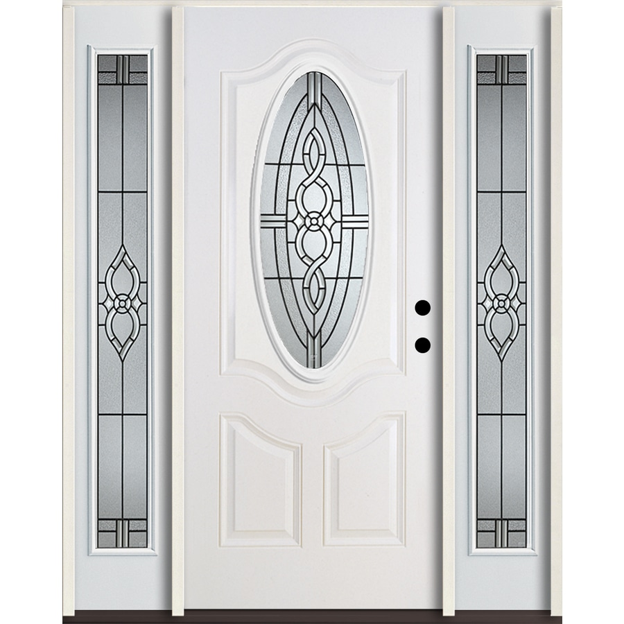 ReliaBilt Calista 3-Panel Insulating Core Oval Lite Left-Hand Inswing Modern White Fiberglass Painted Prehung Entry Door (Common: 60.0-in x 80.0-in; Actual: 64.5-in x 81.75-in)